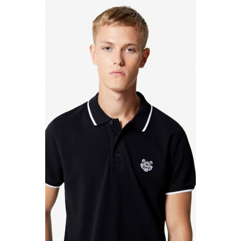 best price slim fit tiger polo shirt - black limited sale last chance