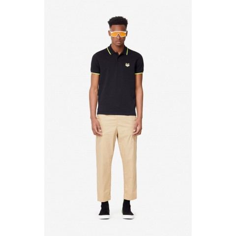 limited sale fitted tiger polo shirt - black last chance best price