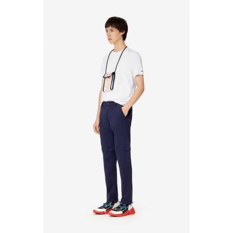 limited sale slim-fit 2-in-1 trousers - midnight blue best price last chance