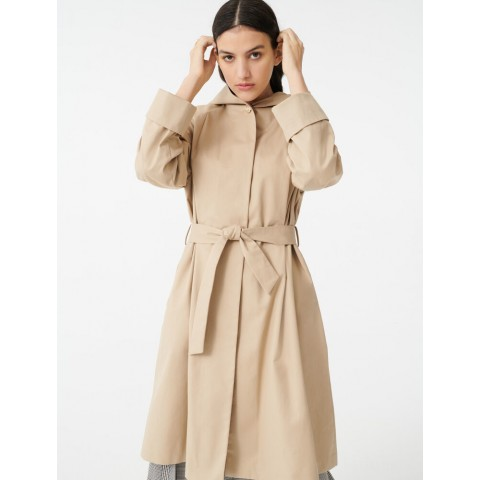 best price hooded trench coat with belt - camel limited sale last chance