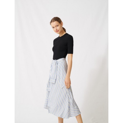 limited sale hybrid dress with striped skirt - blue best price last chance