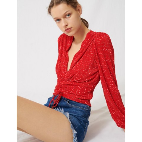 last chance pleated boho polka-dot top - red best price limited sale