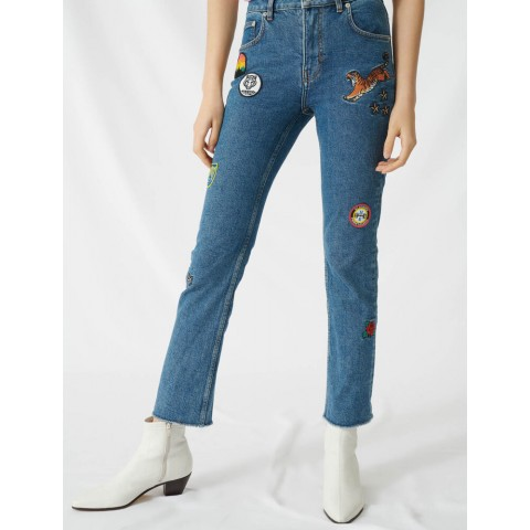 limited sale straight jeans with embroidered patches - blue last chance best price