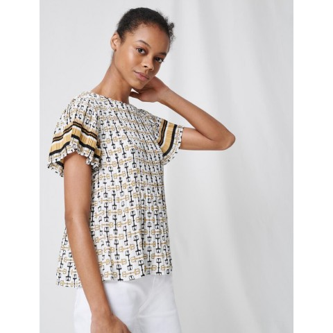limited sale pleated tunic with preppy print - white / black last chance best price