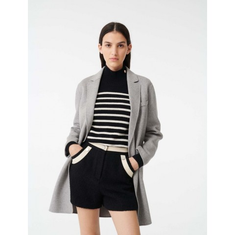 best price double face cropped coat - grey limited sale last chance
