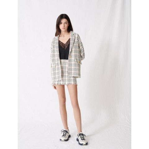 last chance checked tweed-style jacket - ecru limited sale best price
