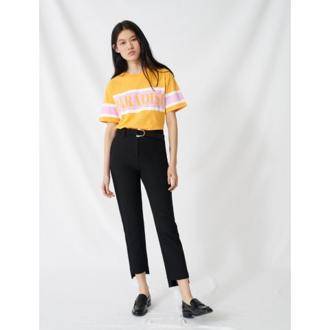 limited sale straight pants with belt - black best price last chance