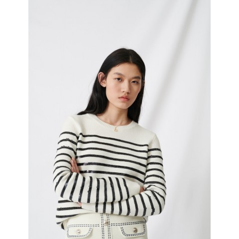 limited sale breton sweater with sequins - ecru last chance best price