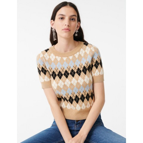 limited sale short-sleeved jacquard sweater - camel best price last chance