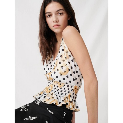 best price polka dot top embroidered with sequins - white / black limited sale last chance
