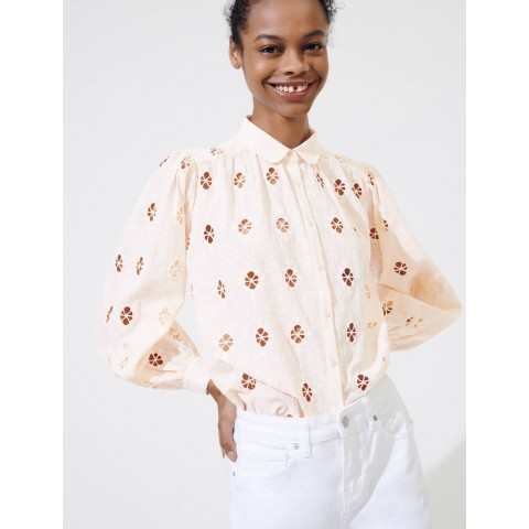 limited sale broderie anglaise shirt - nude best price last chance