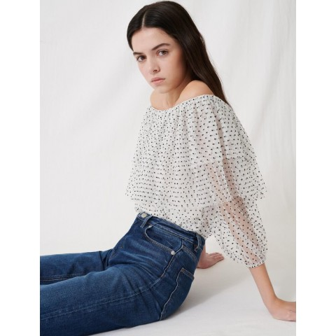 best price loose top with ruffles - white / black limited sale last chance
