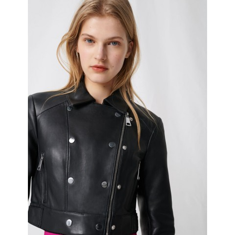 limited sale short leather jacket with asymmetric zip - black best price last chance