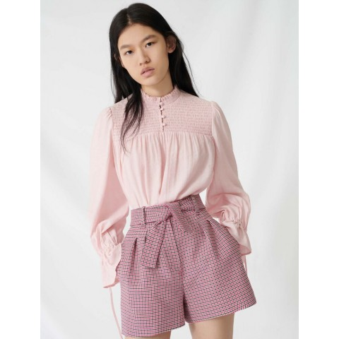 limited sale belted, checked shorts - fuchsia last chance best price