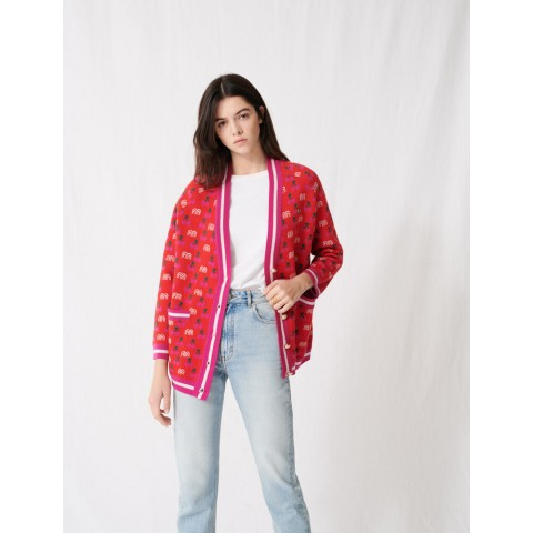 best price jacquard cardigan with contrasting motif - red limited sale last chance