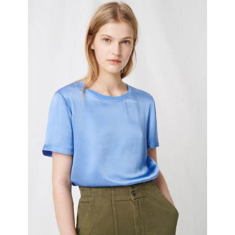 best price loose-fitting material-mix t-shirt - light blue limited sale last chance