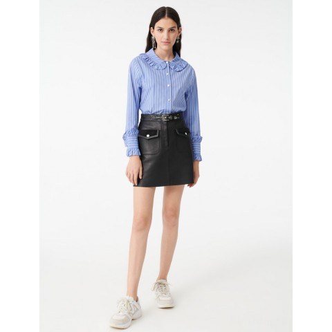 last chance striped shirt with a frilled collar - light blue best price limited sale