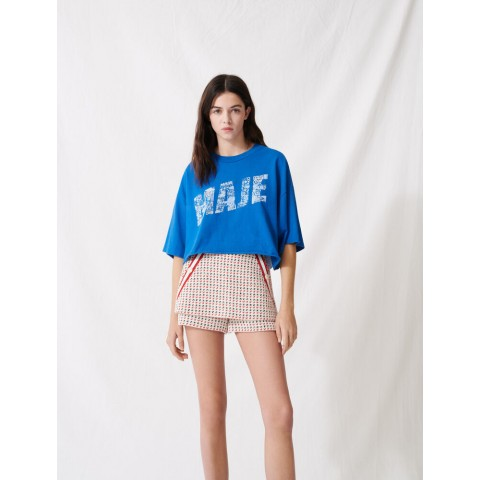 best price screen-printed cropped t-shirt - blue last chance limited sale