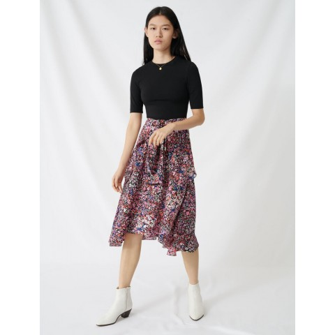 best price printed layered dress - black/pink limited sale last chance