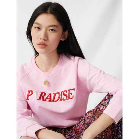 last chance soft sweatshirt with paradise embroidery - pink best price limited sale
