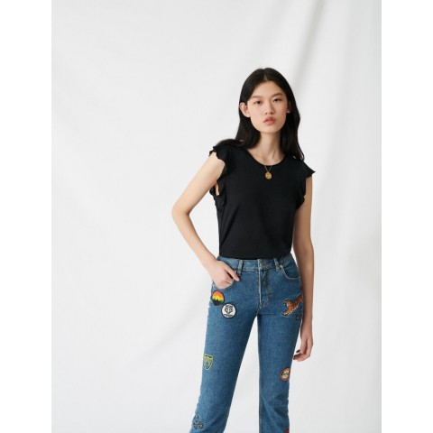 limited sale black sleeveless top with ruffles - last chance best price