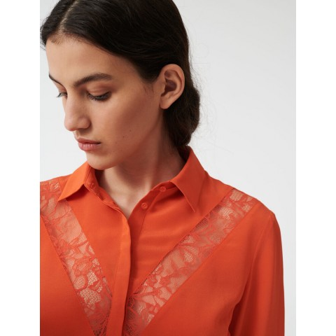 best price shirt with lace inserts - orange limited sale last chance