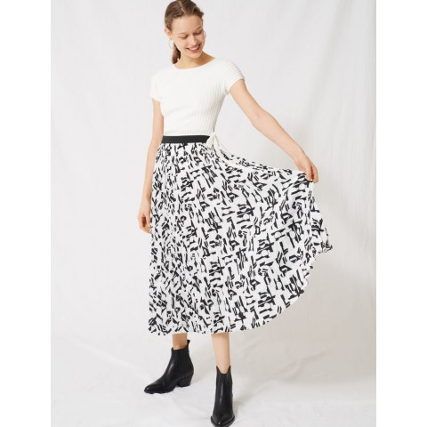 limited sale pleated skirt with an arty print - white / black last chance best price