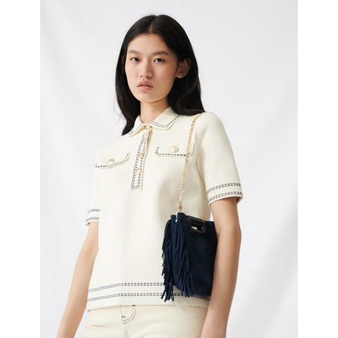 limited sale short-sleeved polo-style sweater - ecru last chance best price