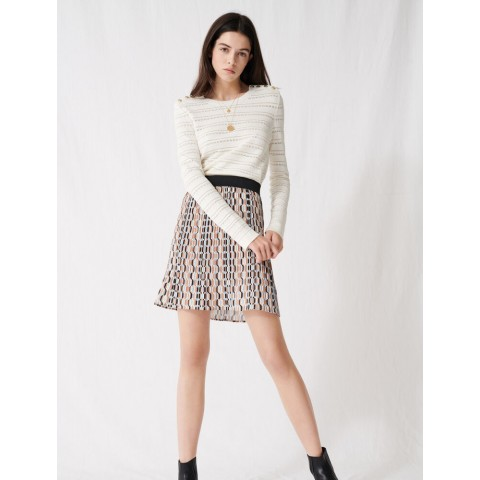 last chance pleated mini skirt with graphic print - blue sky best price limited sale