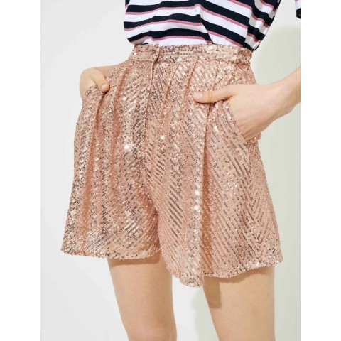 last chance sequinned shorts - metal pink limited sale best price