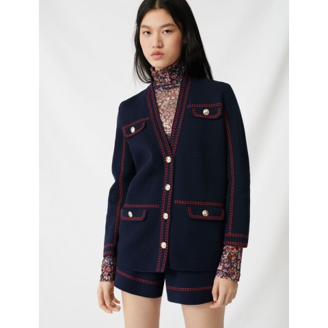 limited sale cardigan with contrasting topstitching - navy last chance best price
