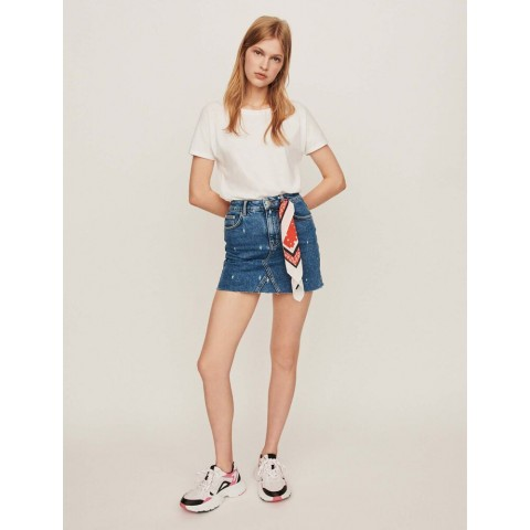 limited sale faded straight-cut jean skirt - blue best price last chance