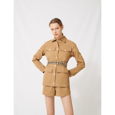 best price camel coat with embroidered belt - limited sale last chance