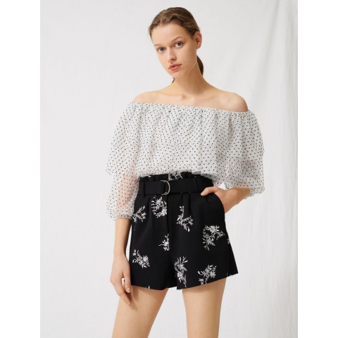 best price embroidered belted crêpe shorts - black / white last chance limited sale