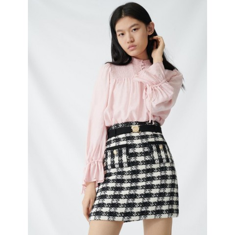 limited sale tweed-style skirt with monogrammed belt - black / white best price last chance