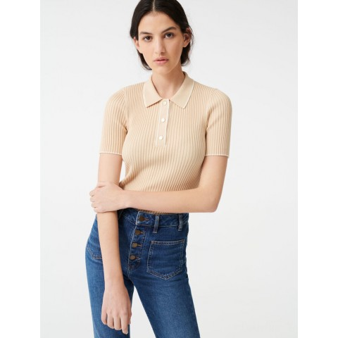 limited sale ribbed polo sweater - beige last chance best price