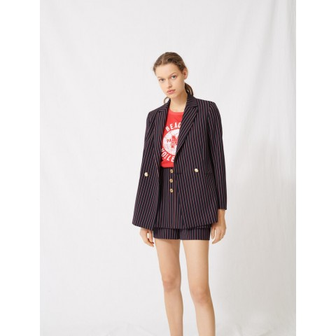 last chance striped double-breasted jacket - navy best price limited sale