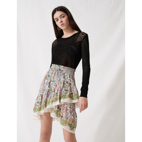 limited sale bucolic skirt with ruffles and smocks - ecru / green last chance best price