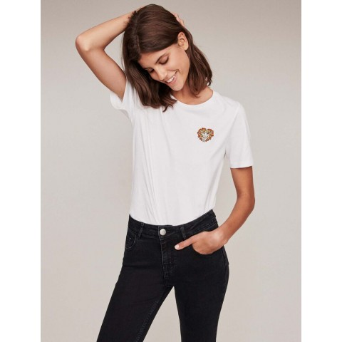 last chance embroidery and rhinestone cotton t-shirt - ecru limited sale best price