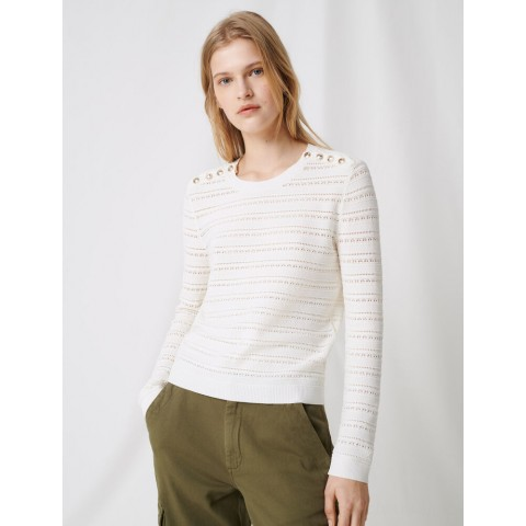 limited sale jumper with intricate button details - ecru best price last chance