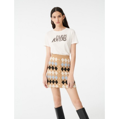 best price buttoned jacquard skirt - camel limited sale last chance