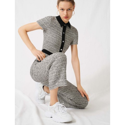 limited sale tweed-style jumpsuit - black / white last chance best price