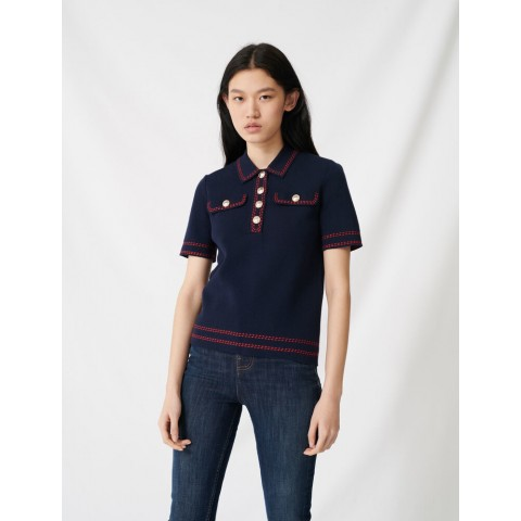 limited sale short-sleeved polo-style sweater - navy best price last chance