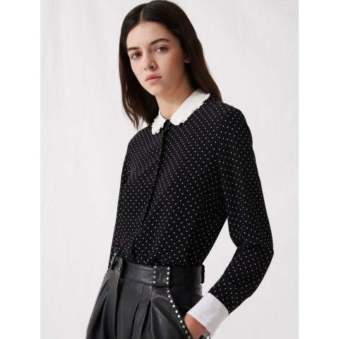 last chance polka dot shirt with contrasting collar - black / white limited sale best price