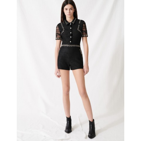limited sale romper with lace and eyelets - black best price last chance