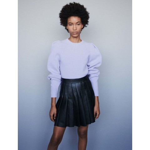 best price pleated leather skirt - black last chance limited sale