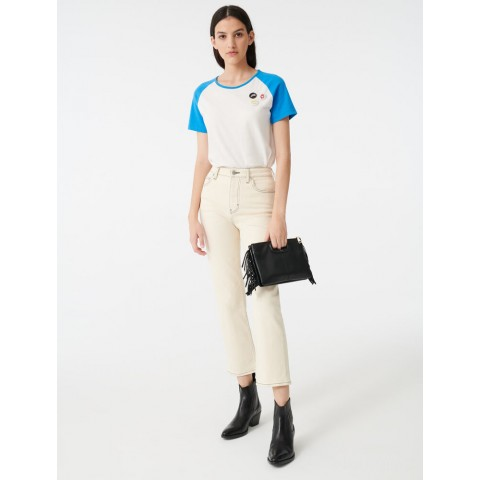 limited sale straight leg jeans with topstitching - ecru last chance best price