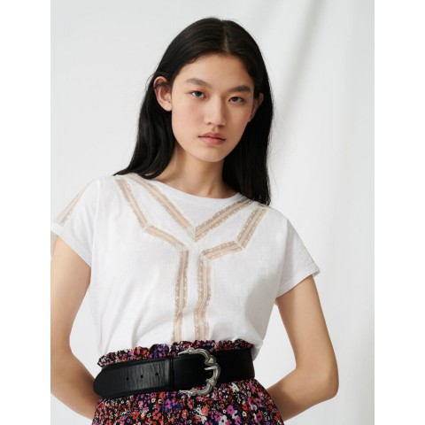 limited sale t-shirt with inlaid lace details - ecru best price last chance
