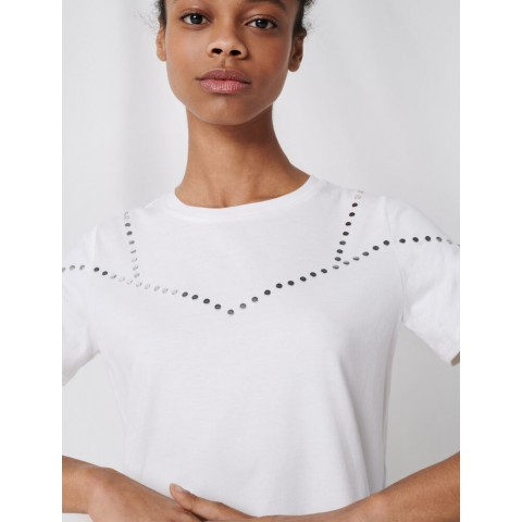limited sale studded white t-shirt - best price last chance