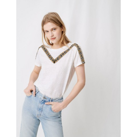 best price white t-shirt with tied black - ecru last chance limited sale